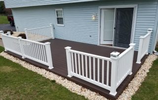 wood patio with white railings