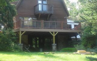 cabin house with deck