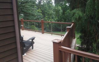 deck with wood railing